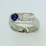 Hand Engraved Flame Ring with Offset Round Sapphire - Dyke Vandenburgh Jewelers