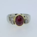 Ruby Cabochon and Diamond Two Tone Ring - Dyke Vandenburgh Jewelers