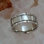 White Gold Band with Engraved Panels - Dyke Vandenburgh Jewelers